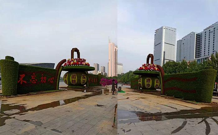 河北邯郸国庆五色草园艺造型景观侧面照