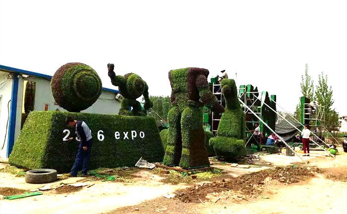河北唐山五色草立体花坛造型插草工作基本完成