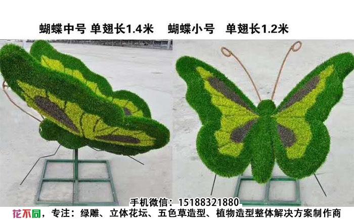 蝴蝶仿真绿雕造型实拍图片